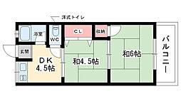 大阪府豊中市岡上の町4丁目の賃貸マンションの間取り
