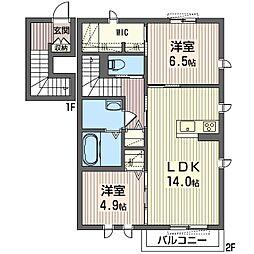 ハピネスII[2階]の間取り