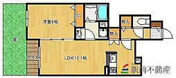 JR久大本線 久留米大学前駅 徒歩14分の賃貸アパート 1階1LDKの間取り