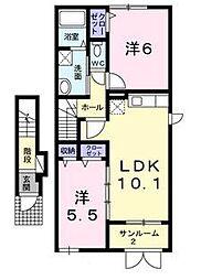 新潟県阿賀野市北本町の賃貸アパートの間取り