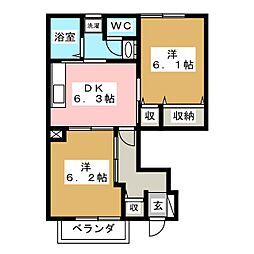 メゾンアンソレイユI[1階]の間取り