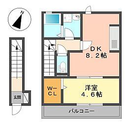 東京都葛飾区細田4丁目の賃貸アパートの間取り