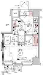 ベルシード横濱WEST 2階1Kの間取り