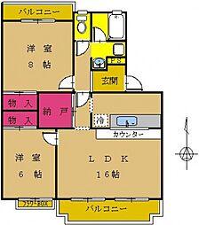 東京都町田市南成瀬2丁目の賃貸アパートの間取り