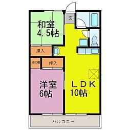 愛知県知多郡武豊町大字冨貴字市場の賃貸アパートの間取り