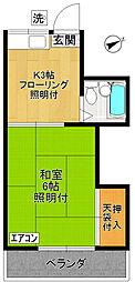ハイツMIKI〜ハイツミキ〜[202号室]の間取り