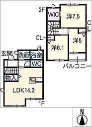 [タウンハウス] 三重県桑名市陽だまりの丘7丁目 の賃貸【/】の間取り