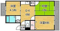 大阪府枚方市春日元町2丁目の賃貸マンションの間取り