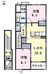 愛知県あま市甚目寺流の賃貸アパートの間取り
