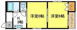 SKハイツ平野[5階]の間取り