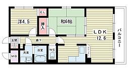 大阪府豊中市北条3丁目の賃貸マンションの間取り