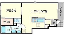 カーサルーチェ 1階1LDKの間取り