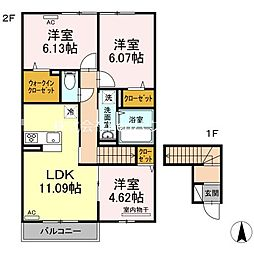 JR高徳線 板野駅 徒歩35分の賃貸アパート 2階3LDKの間取り