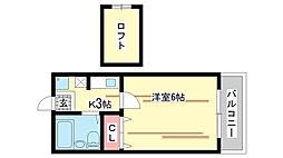 兵庫県神戸市中央区下山手通7丁目の賃貸アパートの間取り
