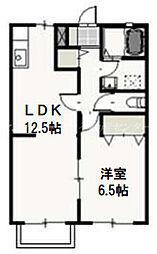 JR津山線 玉柏駅 徒歩25分の賃貸アパート 2階1LDKの間取り