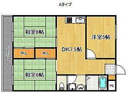 パークハイム住之江[2階]の間取り