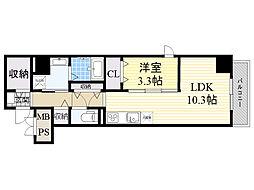 Osaka Metro堺筋線 天神橋筋六丁目駅 徒歩8分の賃貸マンション 1階1LDKの間取り