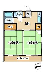 東京都府中市新町2丁目の賃貸マンションの間取り