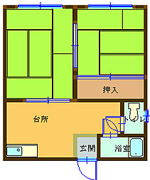 コーポ浜田 2階2Kの間取り