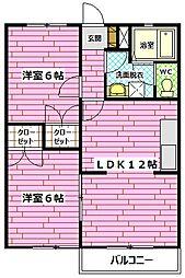 広島県安芸郡海田町曙町の賃貸アパートの間取り