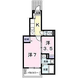 東京都日野市東豊田4丁目の賃貸アパートの間取り