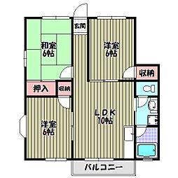 大阪府富田林市津々山台4丁目の賃貸アパートの間取り