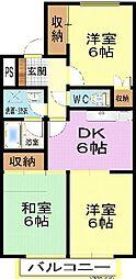 ホワイトハイツI(6戸)II(4戸)[2階]の間取り