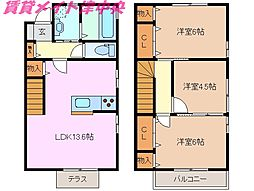 [テラスハウス] 三重県津市上浜町1丁目 の賃貸【/】の間取り
