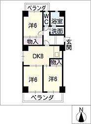 ハウス徳川[6階]の間取り