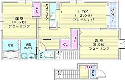 仙台市営南北線 富沢駅 徒歩25分の賃貸アパート 2階2LDKの間取り