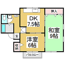 カーサハートフル 2階2DKの間取り