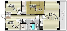 大阪府大阪市西淀川区御幣島1丁目の賃貸マンションの間取り