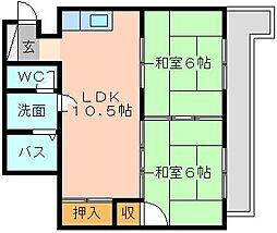 福岡県北九州市小倉南区徳力4丁目の賃貸マンションの間取り