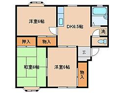 三重県津市河芸町上野の賃貸アパートの間取り