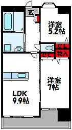 JR鹿児島本線 新宮中央駅 徒歩10分の賃貸マンション 3階2LDKの間取り