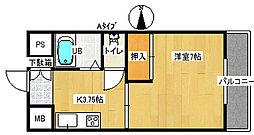 ラ・メールKY 2階1Kの間取り