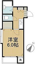 コウジィーコート田無[1-B号室]の間取り