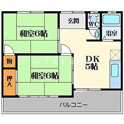 南寿ハイツ西棟[2階]の間取り
