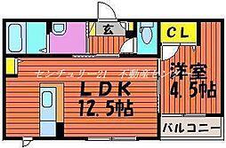 JR山陽本線 岡山駅 バス35分 バス自動車学校入口下車 徒歩7分の賃貸アパート 1階1LDKの間取り