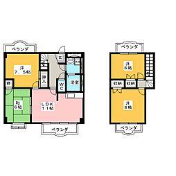 パープリーG−フラット[4階]の間取り