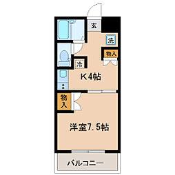 ロイヤルハイツ米ケ袋[4階]の間取り