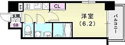 JR山陽本線 兵庫駅 徒歩4分の賃貸マンション 5階1Kの間取り
