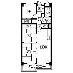 里水マンションB[8階]の間取り