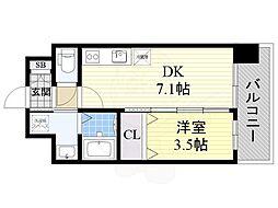 阪急京都本線 正雀駅 徒歩5分の賃貸マンション 9階1DKの間取り