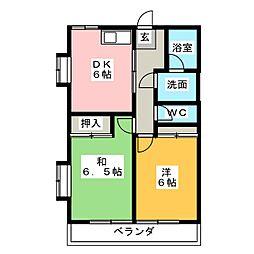 マンションサンリバー[4階]の間取り