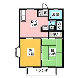 シェ・ヌー戸崎[1階]の間取り