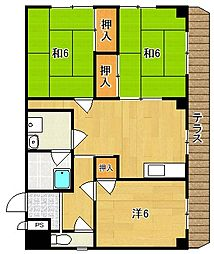 大阪府茨木市大住町の賃貸マンションの間取り