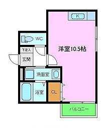 プライドール 1階ワンルームの間取り