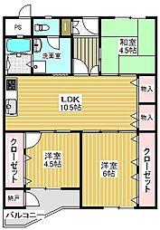 新金岡第8次住宅16棟[7階]の間取り
