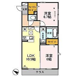 埼玉県越谷市東大沢4丁目の賃貸アパートの間取り